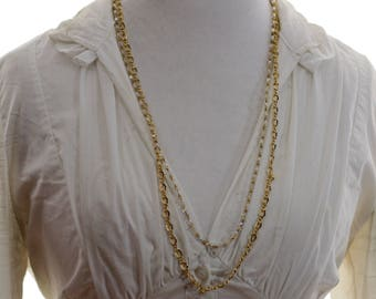 Kirks Folly Gold Chain and Crystal Necklace