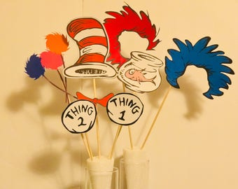 7 Dr Seuss Cat in the Hat & Thing 1, Thing 2 Props/photo booth props