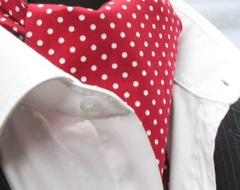 Cravat Ascot UK Made Deep Red / White Polka Dot. Cravat & Hanky.Premium Cotton.