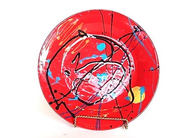 Bright Red Ceramic Platter