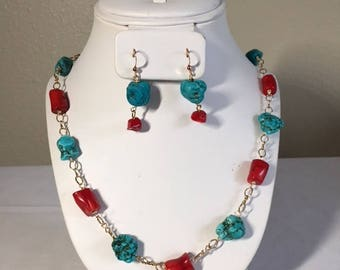 Turquoise Blue Magnesite Red Bamboo Coral Necklace and Earrings Set