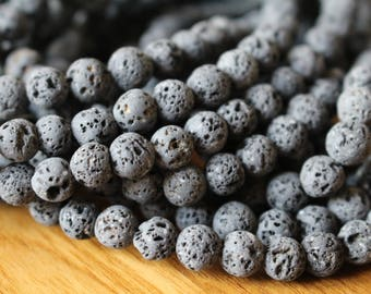 10mm Natural Gray Lava beads, full strand, natural stone beads, round, 10030