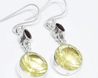 "Sterling Silver Citrine Earrings, Silver Earrings, Citrine Earrings,Round, Citrine,2-Stone .925 Sterling Silver Earrings 2""x0.6"" (With Hook)"