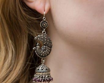 Silver Peacock Earrings, Marcasite Silver Earrings, Sterling Silver Gemstone Earrings, Silver & Garnet Earrings, Statement Indian Earrings