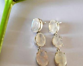 Rainbow Moonstone Earrings, Drop Earrings, Statement Earrings, Triple Gemstone Earrings, Wedding Bridal Earrings, White Chandelier Earrings