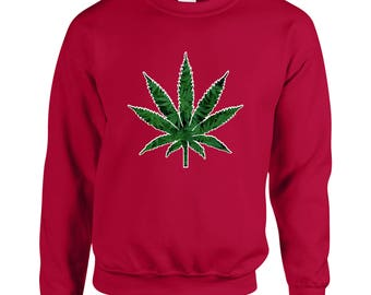 Marijuana Leaf 420 Friendly Weed High Adult Unisex Designed Sweatshirt Printed Crew Neck Sweater for Women and Men