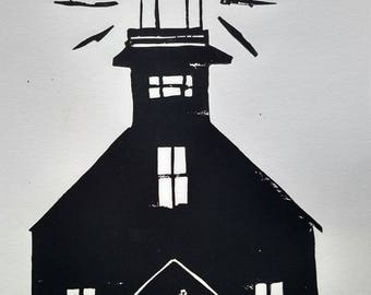 Lighthouse Block Print