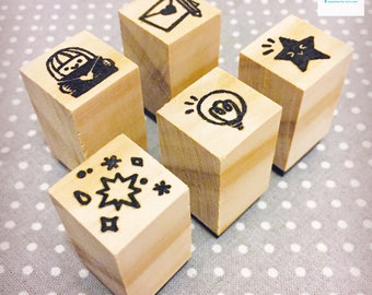 Hand Carved Letter Writing Stamp Set