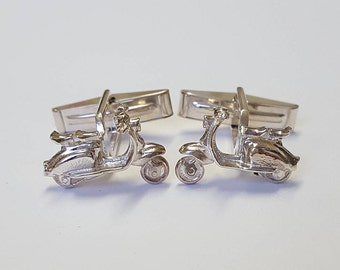 Gift for him Scooter (Vintage Style) Cufflinks in .925 Sterling Silver