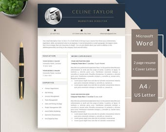 Resume Template - Professional CV Template - for Word (US Letter and A4) 1 & 2 Page CV Template - Resumes