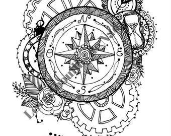 Mandala Temps à colorier et à imprimer vous-même - mandala - zentangle - anti-stress - temps - rouage- coloriage - détente - fait main -