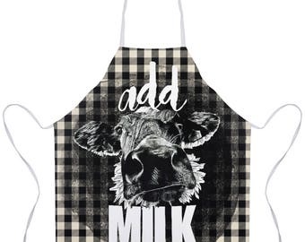 Cow Decor, Cow Apron,Funny Apron,Chef Apron,Farmhouse Dinner,Aprons for Women,Kitchen Apron,Cow Linen,Cow,Get some laughs in the kitchen.