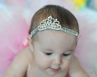 Baby Crown Headband - Baby Photo Prop - Baby Girl Gift - Princess Headband - Glitter Baby Bow - Baby Shower Gift - New Baby Gift