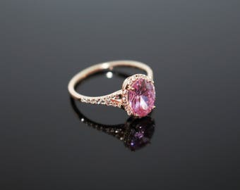Pink Stone Diamond Ring, Rose Gold Diamond Ring, Luxury Diamond Ring, Pink Stone Engagement Ring, Rose Bridal Ring, Mothers Day Gift