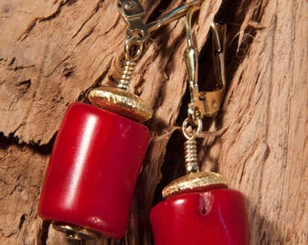 Coral earrings with gold-plated 925 silver