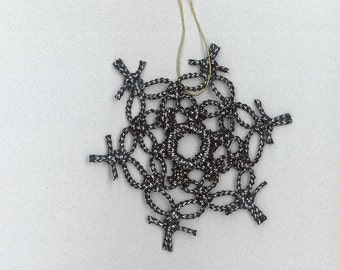 Handmade black with silver craft cord macrame snowflake by TwistedandKnottyUS