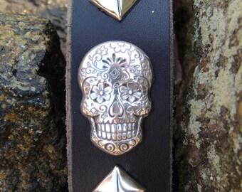 Handmade Leather Key Fob with Sugar Skull Concho