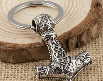 Viking Wolf Thors Hammer Stainless Steel Mjolnir Keyring