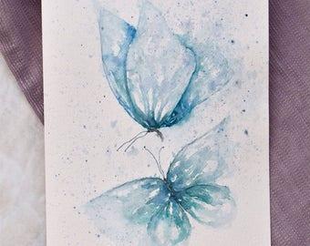 Original painting of Blue butterflies
