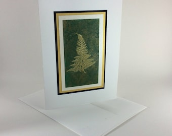 Gold fern on green embossed Christmas card, individually handmade: peace on earth, holiday card, winter, fine cards, ferns,  SKU PEA71002