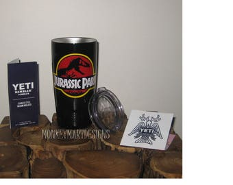 JURASSIC PARK 20oz Yeti Rambler Choosecolor,Personalized Yeti tumbler cup Silver stainless black,Jurassic World