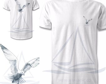 Nautical Edition Gull All Sizes Print T-Shirt, Harbour, Coastal Print, Nautical, Beach, Surf T-Shirt, By The Sea, All Sizes, Ocean Print