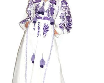 Kaftan Dubai Abaya Dress Vyshyvanka Ultra Violet Purple Ukrainian Embroidery Bohemian Clothing Boho Dresses Vishivanka Embroidered Cloth