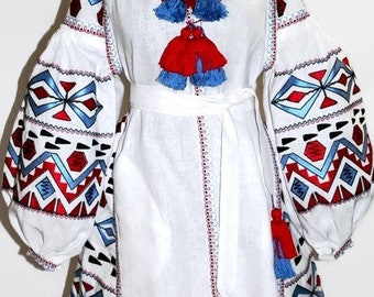 Embroidered Ukrainian Vyshyvanka Dress Boho Dresses Bohemian Clothing Trapeze Ukraine Embroidery Modern Style Open Tunic Mexican Ethnic