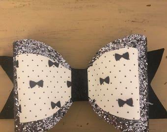 black/gray glitter bow for girl