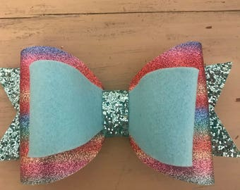 faux leather multicolor , blue felt and blue glitter girl bow