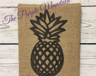 Burlap Pineapple Art