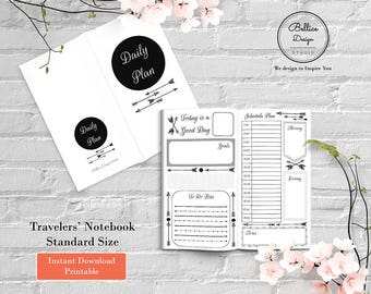Standard Midori Printable Inserts, Boho Planner, Boho Arrow Insert Planner, Daily Planner Inserts, Undated Daily Planner, 2 Page per Day