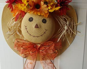 Fall Scarecrow Hat Wreath for Door