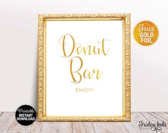 Donut Bar Wedding Sign, Printable Wedding Poster, Gold Wedding Sign, Instant Download, WS02