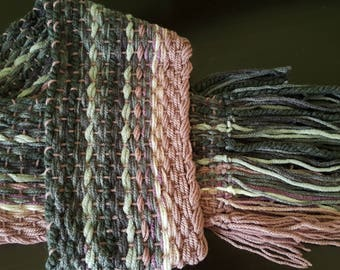 Woven Scarf - Grey and Mauve