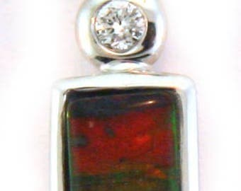 Small AAA Canadian Ammolite Pendant set on 14K White Gold