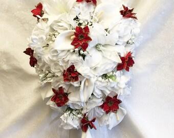 Christmas Cascade Bridal Bouquet Red Poinsettias & Gold Sparkle Accents Gorgeous Quality Roses Calla Lilies Poinsettias Silk Wedding Flowers