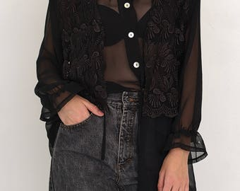 VINTAGE Black See Through Leaf Long Sleeve Retro Shirt