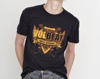 VINTAGE Black Guitar Gangster Logo Print Retro Style T-Shirt