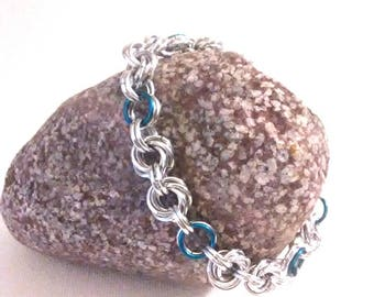 Mobius Chainmaille Bracelet - Mobius Flower Silver and Blue - Goth Style Bracelet - Chainmail Bracelet - Chainmaille - Chunky Bracelet