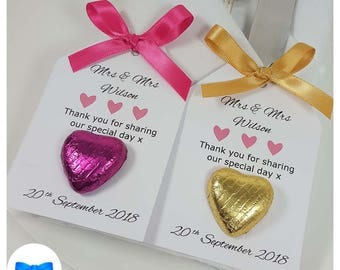 10 x Personalised Wedding Favours - Chocolate Heart Favours - Tags - Birthday Party Favours - Wedding Anniversary Favours - Wedding Favour