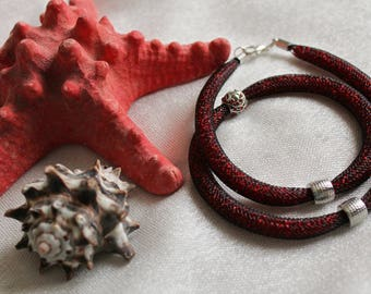 Red Shiny Necklace, Mesh Necklace, Red Necklace, Bead Necklace