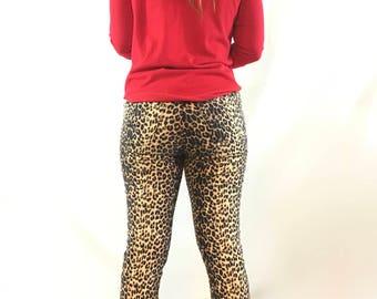 Leopard Print Vintage Paris Blues Flare Jeans Size 9