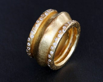 22k gold ring with diamonds, statement heavy gold ring, solid gold handmade ring