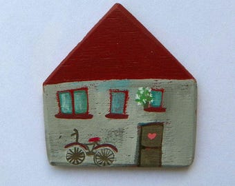 Grey House Magnet-magnet, illustration, wood