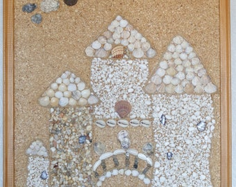 SAND CASTLES wall art. Seashells and pebbles mosaic picture.