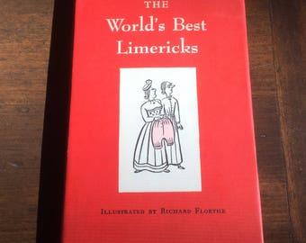 First Edition Hardcover Book: The Worlds Best Limericks, 1951, Vintage Book, Vintage Hardcover 1st Edition, Limericks, Peter Pauper Press