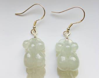 Goldfish Jade Earrings.High Quality Jade Earrings.Jade Animal Earrings.Vintage Jade Earrings.Jade Dangle Earrings.Chinese Jade Earrings