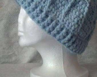Crocheted Light Blue Beanie