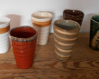 Textured ceramic mugs.